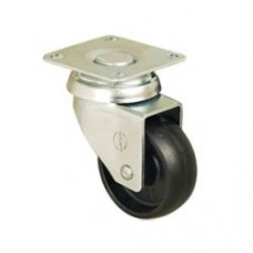 FURNITURE CASTERS - SWIVEL TOP PLATE - BLACK PLASTIC
