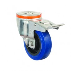 ELASTIC CASTORS - SWIVEL - SINGLE BOLT HOLE (BRAKED)