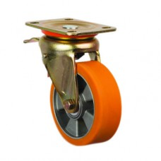 POLYURETHANE CASTERS - HEAVY DUTY - SWIVEL TOP PLATE (BRAKED)