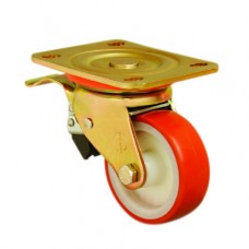 POLYURETHANE CASTERS - EXTRA HEAVY DUTY - SWIVEL TOP PLATE (BRAKED)