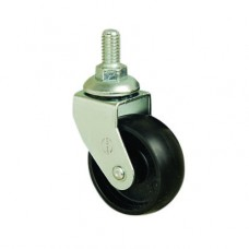 50mm FURNITURE CASTERS - SWIVEL - M10 STUD - BLACK PLASTIC