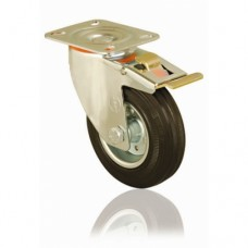 SWIVEL CASTORS - TOP PLATE - BLACK RUBBER - (BRAKED)