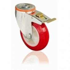 POLYURETHANE CASTERS - SWIVEL - SINGLE BOLT HOLE (BRAKED)